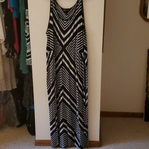 Black and white stripped maxi dress